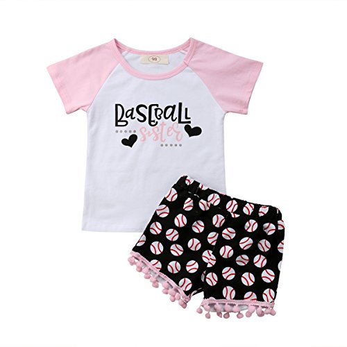 Newborn Toddler Baby Girl Outfits Clothes Baseball Sister Print Short Sleeve T-Shirt Tops + Tassel Floral Short Pant -