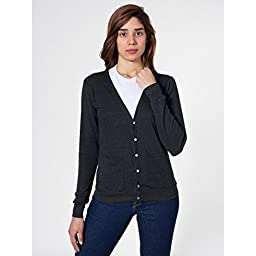 American Apparel Unisex Plain Tri-blend V Neck Cardigan (S) (Tri-Black)