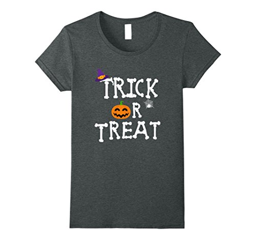 Womens Funny Trick or Treat T-shirt Best Halloween Costume Gift Tee XL Dark Heather