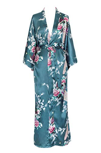 Old Shanghai Women's Kimono Long Robe - Peacock & Blossoms - Lapis Blue (on-seam pocket)