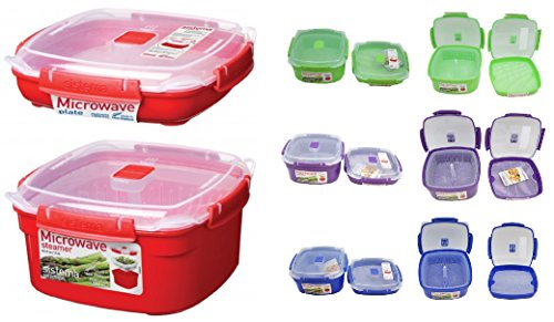 Sistema 2 Piece Medium Microwave Steamer and Plate Set with a Starter Recipe Guide for 15 Amazing Steamer Meals - Assorted Colors (Steam Bowl Microwavable compare prices)