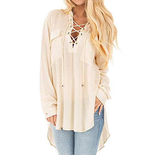 Sunhusing Women's V-Neck Cross Bandage Strap Long Sleeve Pullover Top Loose Casual Solid Color T-Shirt (S, 2 Beige) ()