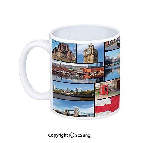 (England Coffee Mug,England City Red Telephone Booth Clock Tower Bridge River British Flag with Flowers,Printed Ceramic Coffee Cup Water Tea Drinks Cup,Blue Red)