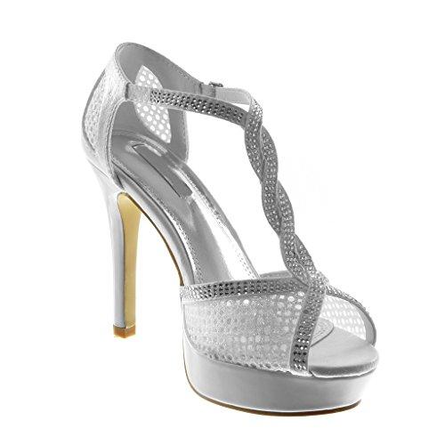 Angkorly Damen Schuhe Sandalen Pumpe - Stiletto - T-Spange - Fischnetz Schuh - Strass - Glänzende Stiletto High Heel 11.5 cm Weiß