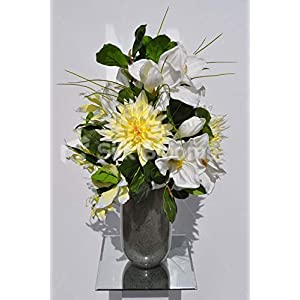 Silk Blooms Ltd Artificial Lemon Yellow Chrysanthemum and Amaryllis Floral Arrangement w/Pussywillow and Foliage 30