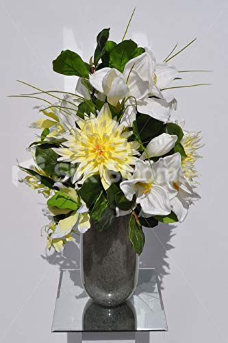 Silk-Blooms-Ltd-Artificial-Lemon-Yellow-Chrysanthemum-and-Amaryllis-Floral-Arrangement-wPussywillow-and-Foliage