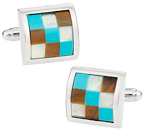 - Cuff-Daddy Turquoise, Mother of Pearl, Tiger's Eye Silver Cufflinks with Presentation Box