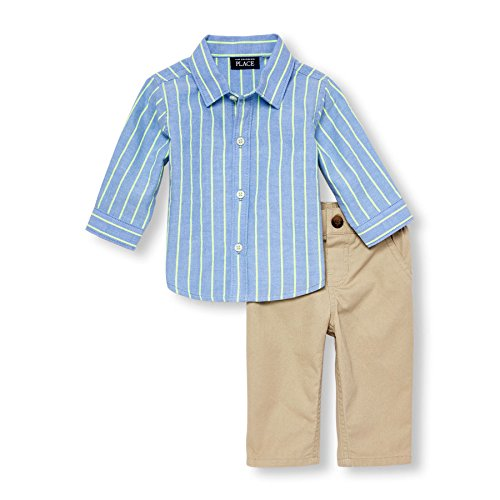 The Children's Place Baby Boys' Woven Pant Set, Springblue, 12-18MOS