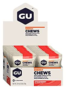 GU Energy Chews Single-Serving Pouch, Strawberry, 24 Count