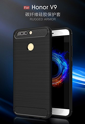 Funda Huawei Honor V9,Alta Calidad Anti-Rasguño y Resistente Huellas Dactilares Totalmente Protectora Caso de Cover Case Material de fibra de carbono TPU Adecuado para el Huawei Honor V9 E