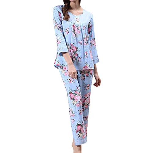La Sra Atractiva De Manga Larga Cuello Redondo Respirable Cómodo Pijama De Confort Casual Blue