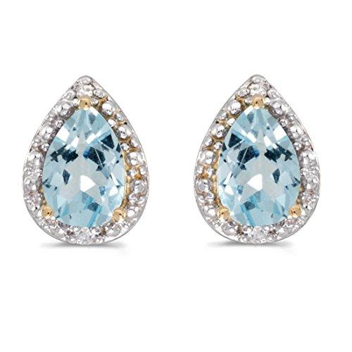 14K Yellow Gold Pear Shape Aquamarine and Diamond Earrings