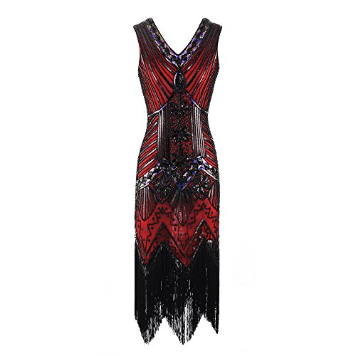 ♡QueenBB♡ 1920s Flapper Dress Roaring 20s Great Gatsby Costume Dress Fringed Sequin Dress Embellished Art Deco Dress Red]()