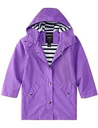 Wantdo Boys Girls Long Rain Jacket Lightweight Rainwear Purple 10/12