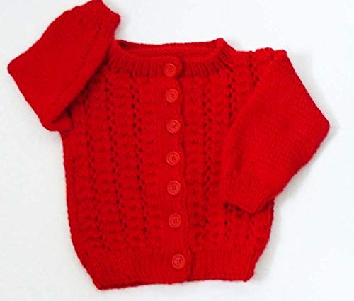 Knit Baby Lace Buttoned Cardigan - Girl Toddler Knitted Cardigan - 12 to 24 months