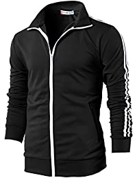 H2H Mens Active Slim Fit Zip-up Long Sleeve Training Basic Designed Jacket