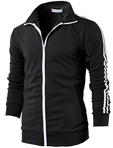 H2H Mens Slim Fit Full Zip-up Long Sleeves Training Jacket Black US S/Asia M (CMOJA0103)