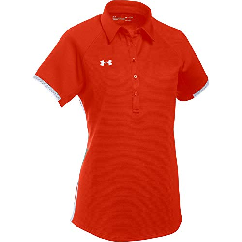 Under Armour Women's UA Rival Polo (Medium, Dark Orange-White) ()