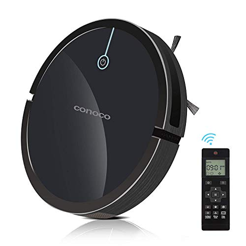 Robotic Vacuum Cleaner for pet Hair-with 2000Pa Suction Tangle-Free, Drop-Sensing Technology, Auto Self-Charging for Hard Surface Floors & Thin Carpets-HEPA Filter Pet Hair Allergies Friendly(Black) (Best Pet Friendly Carpet)