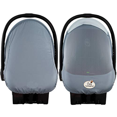 Summer Cozy Cover Sun & Bug Cover (Glacier Gray) - The Industry Leading Infant Carrier Cover Trusted by Over 2 Million Moms Worldwide for Protecting Your Baby from Mosquitos, Insects - Car Style Bug