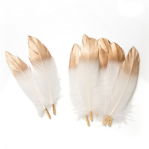 Ling#039s moment 12pcs Gold Dipped White Feathers for Boho Baby Shower Nursery Decor Dream Catcher Supplies