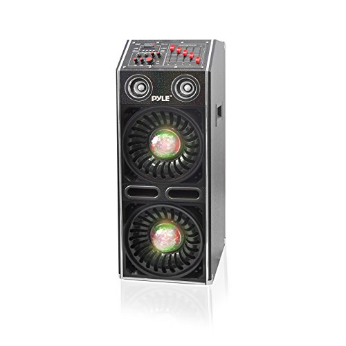 PYLE-PRO AZPSUFM1072BT Disco Jam 2 Bluetooth Active Powered Speaker System Flashing DJ Lights Dual 10'' Woofers Dual 3'' Tweeters USB/SD Memory Card Readers Aux (3.5mm) Input 1500 W Black by Pyle