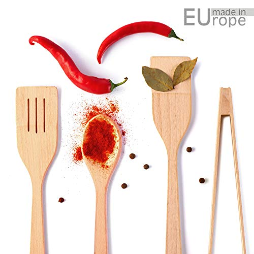 Wooden Spoons for Cooking Utensils - Wooden Spatula Kitchen Utensil Set & Wooden Tongs