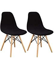 Lellen Shell Chair Cover Mid Century Modern Style for Kitchen Dining Room Chair Covers Bedroom Living Room Side Chairs Lounge Armles Chair(Set of 2-Black)