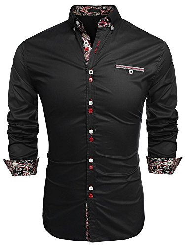 Button Party Dress In Black (Men Button Down Shirt, Casual Long Sleeve Formal Dress Shirts Slim Fit Fashion Tops)
