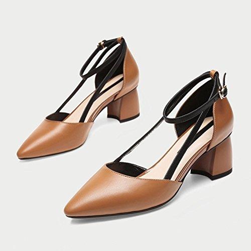baja Boca Zapatos de de Boca Cuatro Jqdyl Tacón co Caramel Tacones Tacón Zapatos mujer rugoso estaciones mujer baja vxUpSUn