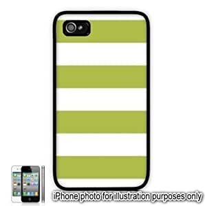 Lime Green Cabana Stripes Pattern Apple iPhone 4 4S Case Cover Skin Black