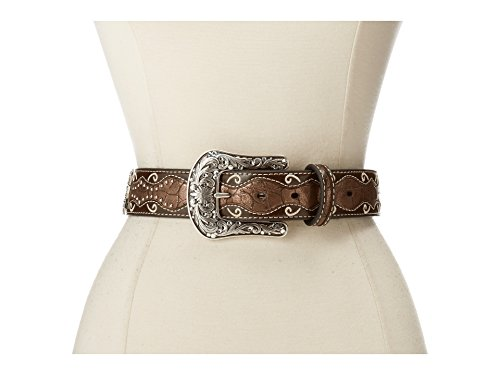 Ariat Women's Patent Inlay Crystal Cross Belt,Brown,XL (Crystal Concho Belt)