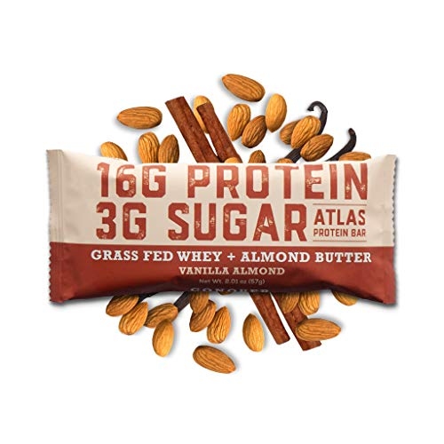 Atlas Bar - Keto/Low Carb Friendly Protein Bar, Vanilla Almond (10-Pack) - Grass Fed Whey, Low Sugar, Clean Ingredients, All Natural, Gluten Free, Soy Free, and GMO Free