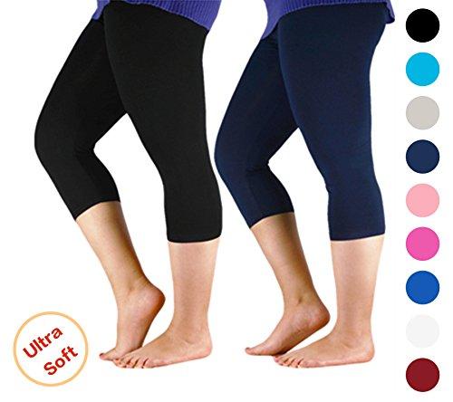 Century Star Women's Plus Size Elastic Waist Cotton Basic Solid Capri Leggings 2 Pairs Navy Black US 1X Plus-US 2X Plus(Tag 5XL)