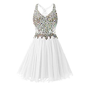 65672b843d3 Dannifore Beaded White Short Homecoming Dresses Tulle Cocktail Party Ball Gown  Size 16