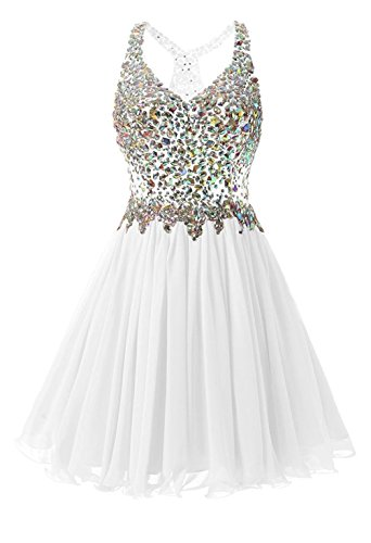 Dannifore Beaded White Short Homecoming Dresses Tulle Cocktail Party