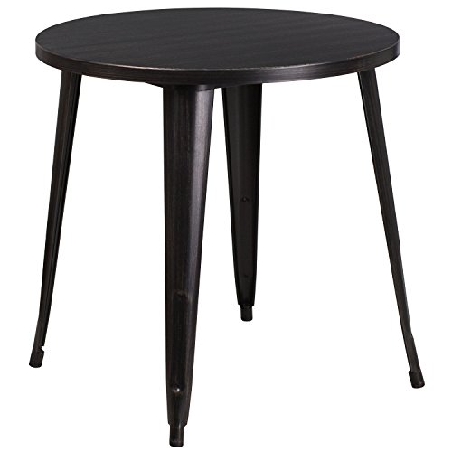 Flash Furniture 30'' Round Black-Antique Gold Metal Indoor-Outdoor Table