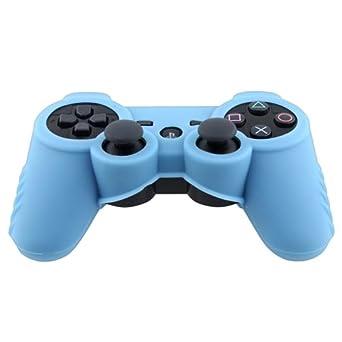 Para Sony PS3 Control Mando Azul Goma Funda Carcasa Silicona ...