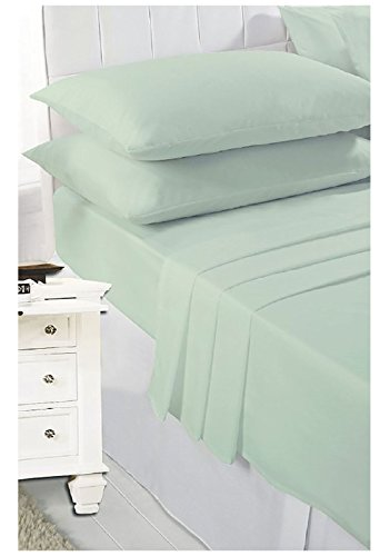Rimi Hanger Plain PollyCotton Flat Bedding Sheets And Pillow Cases Single Double King Beautiful Bedding Sheets Mint Green - Plain Hanger