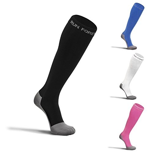 Compression Socks for Men & Women - Best Medical Grade Graduated Recovery Stockings for Nurses, Maternity, Travel, Running, Leg Relief, Prevent Swelling, Calf Pain, Shin Splints (Black,Large)