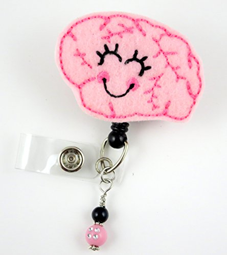 Cute Brain Girl - Nurse Badge Reel - Retractable ID Badge Holder - Nurse Badge - Badge Clip - Badge Reels - Pediatric - RN - Name Badge Holder
