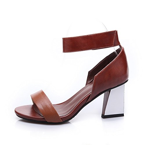Assorted Cuff Colors Sandals Platform Leather Unique Ladies 1TO9 Cow Camel Ankle Brown EqBF6TT0