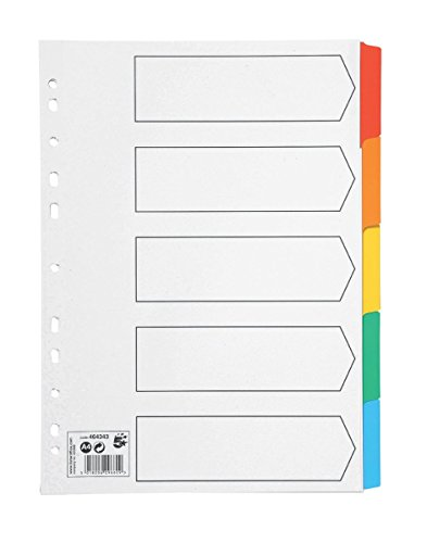 Spicers 5 Star Index 230 micron Card with Coloured Mylar Tabs 5-Part A4 White ()
