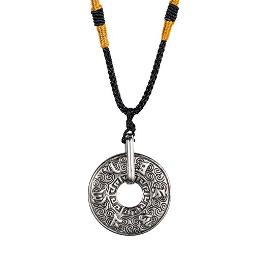 UNAPHYO Men's Stainless Steel Tibetan Buddhist Mantra Silver Om Mani Padme Hum Lucky Prayer Pendant Necklace Rope Chain