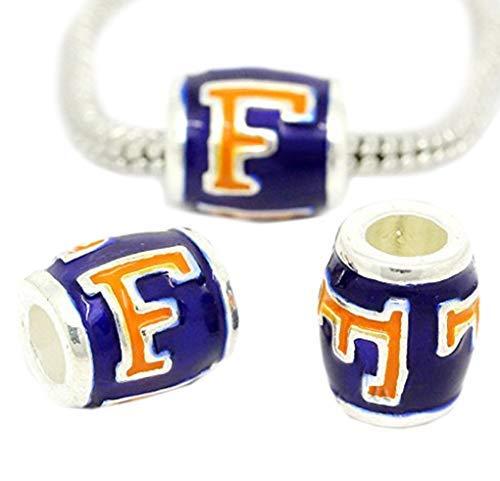 Florida Gators European Bead Charm - University of Florida Football Team Logo Jewelry Making Supply Pendant Bracelet DIY Crafting by Wholesale ()