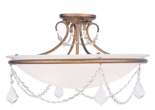 Livex Lighting 6525-48 Chesterfield/Pennington 3 Light Ceiling Mount, Antique Gold Leaf