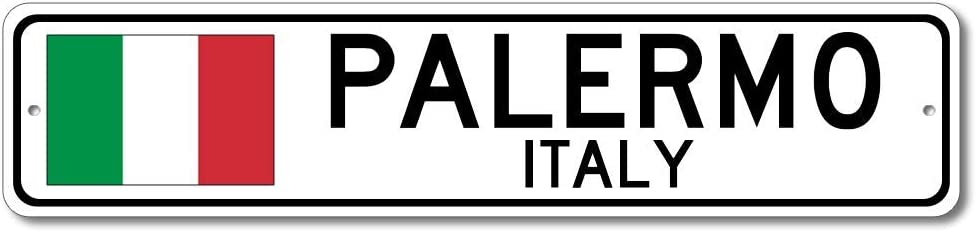 Palermo, Italy - Italian Flag Sign - Metal Novelty Sign for Home Decoration, Italian Restaurant Wall Decor, Gift Street Sign, Italian Hometown Sign, Made in USA - 4x18 inches