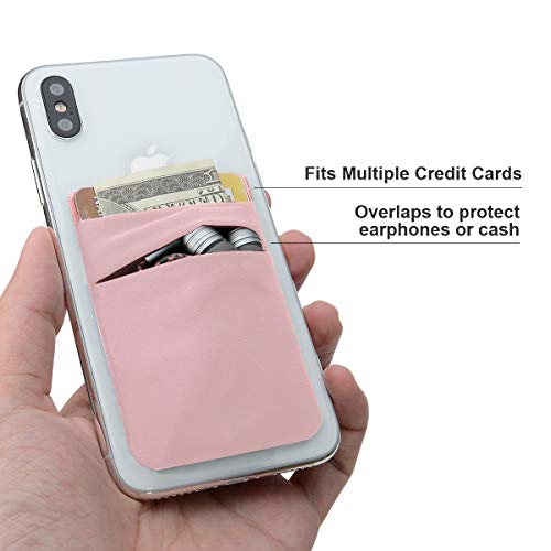 e7dda9b79d96 SHANSHUI Card Holder for Back of Phone, Adhesive Stretchy Fabric Lycra  Double Slots Credit Card Sleeves Stick On Wallet Phone Pocket Compatible  with ...