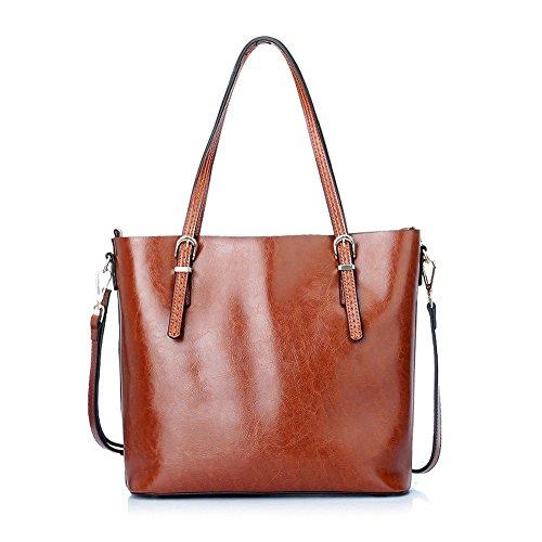 Moonsister Woman Oil Wax Leather Genuine Leather Shoulder Bag, Vintage Large Capacity Single Shoulder Bag Handbag Black Brown