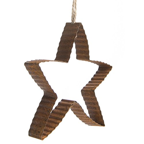 (Factory Direct Craft Package of 6 Primitive Corrugated Rusty Tin Star Ornaments for Home Decor, Gifting, and Displaying)